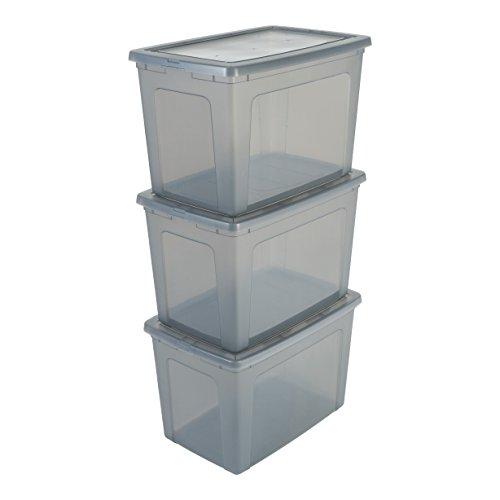 Iris Ohyama 3er-Set, Aufbewahrungsboxen, 70 L, durchsichtig, stapelbar, Wohnzimmer, Schlafzimmer - Modular Clear Box MCB-70 - Grau