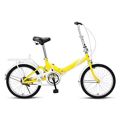 Frauen Faltrad, Erwachsene Mini Leichtgewicht faltbares Fahrrad, Rahmen aus kohlenstoffhaltigem Stahl, vordere und hintere Kotflügel, Kinder Urban Commuter Fahrrad, Cyan, 20 Zoll (Farbe: Gelb)
