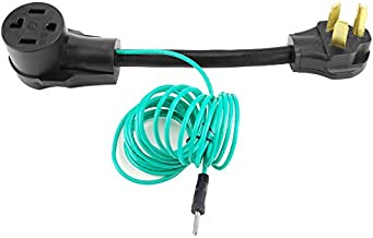 1.5FT NEMA 10-30P to 14-30R Dryer Adapter, 30A, 250V, STW 10AWG3C, 3 Prong to 4 Prong Dryer Plug Adapter with Green Ground Wire, Black