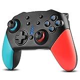Gezimetie Controlador inalámbrico Bluetooth Pro para interruptor, controlador de conmutador, mando de gamepad con batería de polímero de litio de 1200 mAh y Turbo Dual Shock Joysticks (azul/rojo)