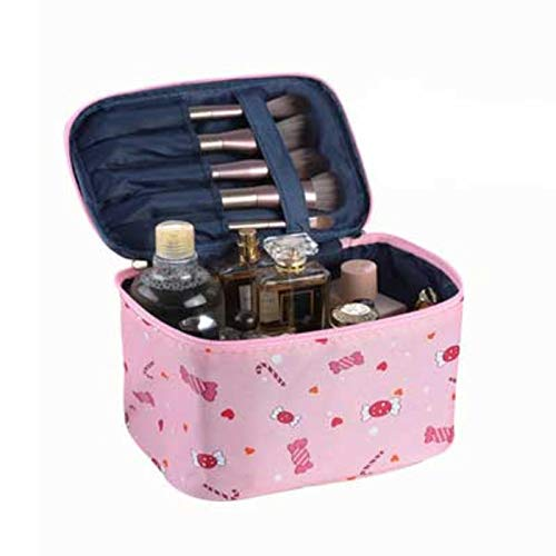 Toee Bolsa de cosméticos para mujer, diseño de flamenco, organizador de viaje, caja de maquillaje, neceser, bolsa de aseo grande, impermeable, caja de maquillaje