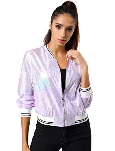 Allegra K Damen Langarm Stehkragen Holographic Streifen Bomberjacke Jacke Violett S