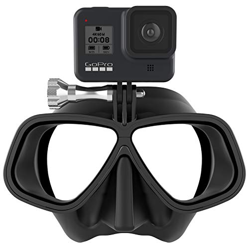 OCTOMASK - Low Volume Dive Mask w/Mount for All GoPro Hero Cameras for Scuba Diving, Snorkeling, Freediving (Black)