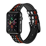 CA0767 Firefighter Thin Red Line Flag Leather & Silicone Smart Watch Band Strap for Apple Watch iWatch Size 42mm/44mm