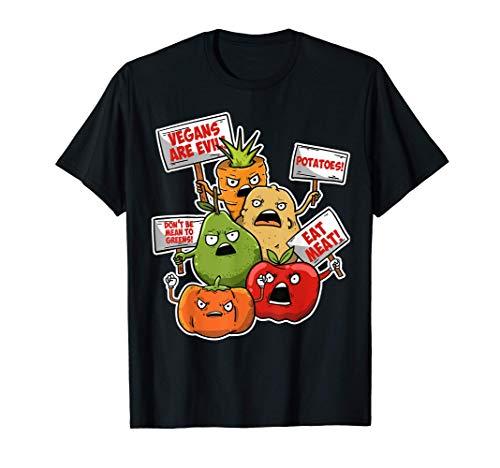 Veggie Protest Funny Sayings Vegetable Puns Vegan Jokes Gift T-Shirt