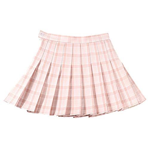 N\P Falda a cuadros para mujer plisada corta de cintura alta con línea de A para mujer, falda de calle, falda corta