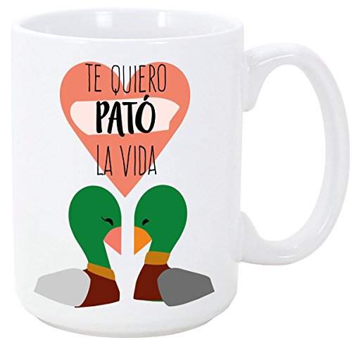 MUGFFINS Taza para Enamorados/San Valentín - Te Quiero Pató la Vida - 350 ml - Tazas Desayuno Originales con Frases de Regalo para Novios/Novias …