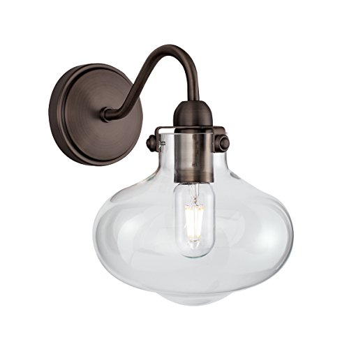 Norwell Lighting 8261 Clara One-Light Wall Sconce (Architectural Bronze w/Clear Glass)