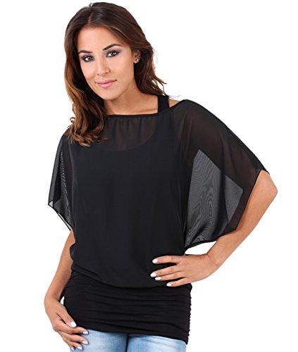 Blusas Camisas Mujer Elegante Grande Top Bonita Fiesta Transparente Juvenil Tallas Grandes Fiesta Moda, (Negro (3559), 48 EU (20 UK)), 3559-BLK-20