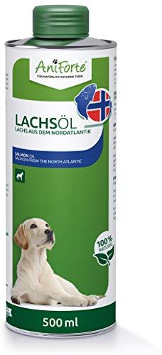 Aceite de salmón AniForte Premium para perros y gatos 500 ml - Prensado en frío con ácidos grasos Omega 3 y Omega 6, Aceite de pescado para cachorros, Adulto, Senior, Envase reciclable sin BPA