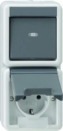 Gira 017630 Kombination senkrecht Schuko Wechsel Wassergeschützt Aufputz, grau