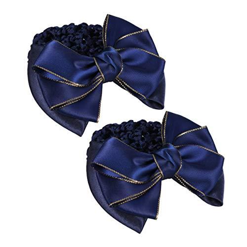 Lurrose Bowknot Chignon Ruban Bowknot Barrettes de Printemps Vintage Snoods de Cheveux pour Les Femmes (Bleu)