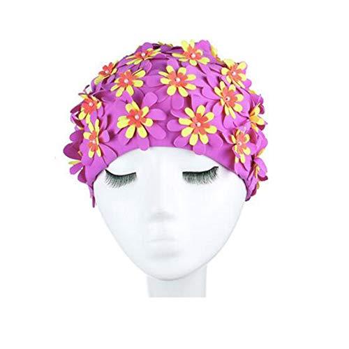 Uteruik Bonnet de bain pour femme, motif pétales de fleurs, style rétro, 1 pièce (#D)