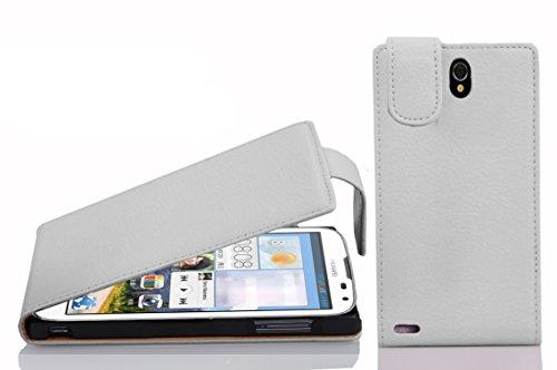 Cadorabo Hülle für Huawei Ascend G610 in Magnesium WEIß - Handyhülle im Flip Design aus Strukturiertem Kunstleder - Hülle Cover Schutzhülle Etui Tasche Book Klapp Style