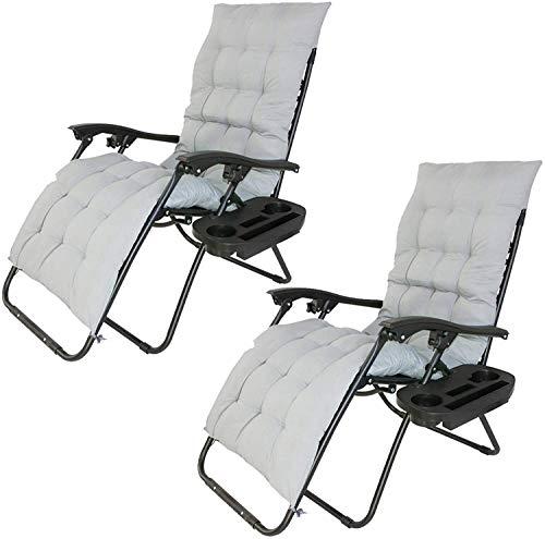 2 x Liegestuhl | Verstellbar Kopfpolster Schwerelosigkeit Oxford Stahl Fußschoner | Garten Liege Hochlehner Gartenstuhl Schwarz (Modell 1=5)