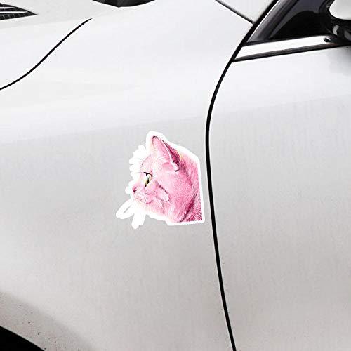 ZQZL 13,7 CM * 15 CM Hermoso Animal Rosa Gato PVC calcomanías Adhesivas para Coche