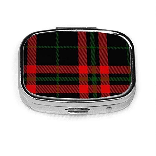 Schwarz-Grün-Rot-Tartan-Plaid Schottische kundenspezifische personalisierte quadratische Pillenbox dekorative Box Vitaminbehälter-Tasche oder Brieftasche