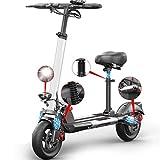 "Patinete Eléctrico Scooter Plegable E-Scooter, Velocidad 45km/h, Ruedas antirreventón Tubeless de 10"", Autono 40 km, 48V/6AH 500W, Pantalla LCD 3 Modos de Velocidad, con Asiento"