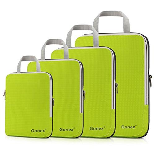 Compression Packing Cubes 3/4er Set, Gonex Kleidertaschen 4-teilig Verpackungswürfel, Kleidertaschen Set, Kofferorganizer Reise Würfel, Grün(4 Er Set)