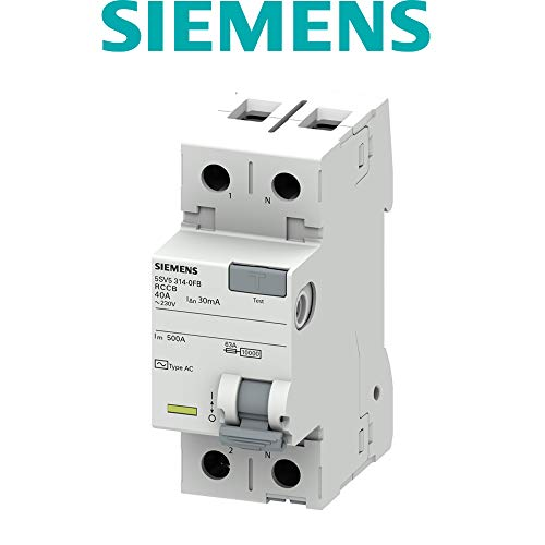 Siemens sentron - Interruptor diferencial 70mm clase corriente alterna 2 módulos 2 polos 40a 30ma