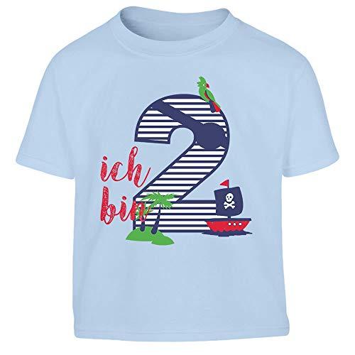 Shirtgeil Ich bin Zwei Geschenk Geburtstag Kleinkind Kinder Jungen T-Shirt 104 Hellblau