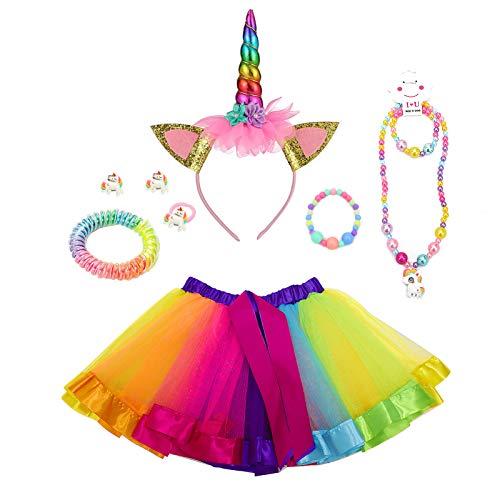 YFPICO Nueve-Pieza Faldas Tut para NiAs Ropa Vestir Vestido Corto Tul Princesa Trajes para NiOs Conjuntos Ropa con Pinza El Cabello Sombrero Cuerno Disfraz Fiesta CumpleaOs(Violeta,L)