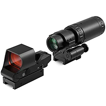Feyachi M37 1.5X - 5X Red Dot Magnifier with RS-30 Reflex Sight Combo Kit Multiple Reticle System Red Dot Sight & Magnifier Built-in Flip Mount Combo