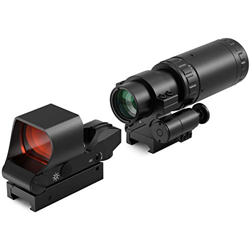 Feyachi M37 1.5X - 5X Red Dot Magnifier with RS-30 Reflex Sight Combo Kit, Multiple Reticle System Red Dot Sight & Magnifier Built-in Flip Mount Combo