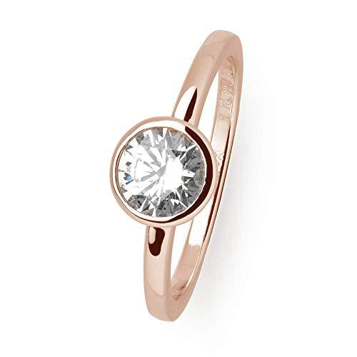 Xenox Damen Silber Sterling 925 Ring in Rosegold mit Zirkonia - Silver Circle XS7280R, Ringgröße (Durchmesser):54 (17.2 mm Ø)