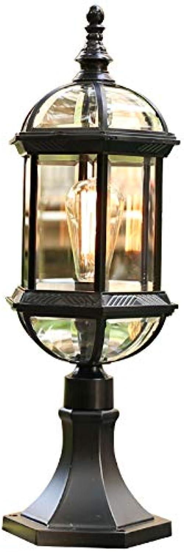HDMY Europische Vintage Zaun Sule Licht Patio Tor Licht Spalte Lampe Mittelmeer Im Freien Wasserdichte Villa Landschaft Beleuchtung Traditionelle Glas Gartenlaterne