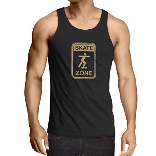 lepni.me Camisetas de Tirantes para Hombre Skate Zone - para Patinadores, Skate Longboard, Regalos de patineta, Equipo de Patinaje (Medium Negro Oro)