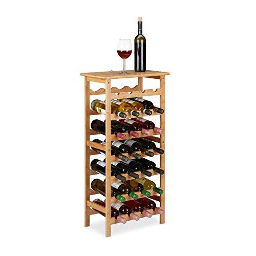 Relaxdays Botellero de bambú para 28 Botellas, 94 x 47 x 29 cm, sótano, Cocina y Bar, con Estante, Natural, 1 Unidad