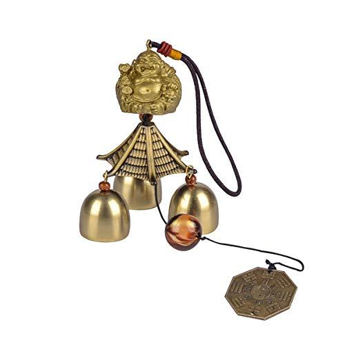 YODOOLTLY Glückliches Windspiel - Feng Shui Windspiel Outdoor Glücksbringer Hänger mit 3 Metallglocken Windglocken für Garten, Haus, Terrasse, Hof (Buddha-Münze)