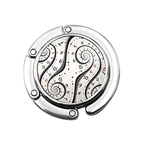 Monedero Percha Cara Tiempo Abstracto Moderno Blanco Surrealista Espiral Reloj Imposible Fractal Dial Cuenta atrás Distorsionado Bolso Gancho
