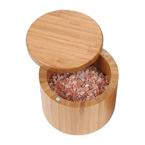 OurLeeme Caja de almacenamiento de especias, caja de almacenamiento de especias de sal de bambú de madera con contenedor de tapa giratoria para tarro de condimento de almacenamiento de cocina