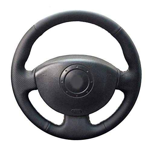 JIRENSHU Cubierta de Volante de Coche Cosida a Mano en Cuero Negro, para Renault Megane 2 2003-2008 Kangoo 2008 Scenic 2 2003-2009
