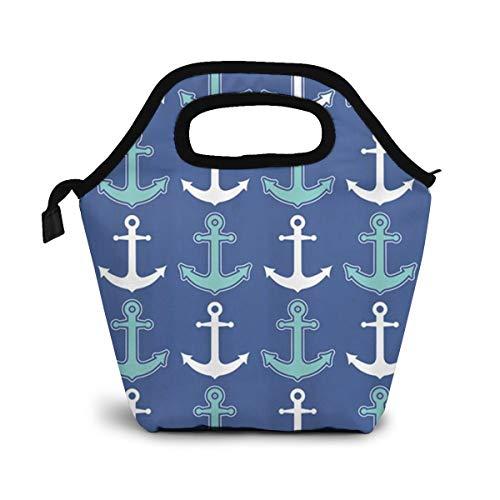 TUYUFBAGS Seeanker-Muster-Marine-Blau und Aquamarine Dusche Lunch Tasche Isoliertasche Kühltasche Lunchtasche Thermische Lunch Tasche Mittagessen Tasche für Mädchen Kinder