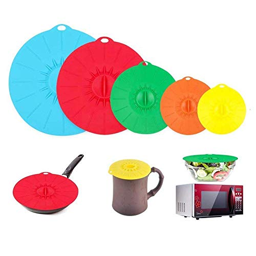 Voarge Silikon Deckel, Töpfe, Pfannen, Tassen und Mikrowelle Essen Abdeckungen Combo - FDA zugelassen/Vakuum Deckel mit Saugeffekt Fuer Küche 5 Stück Set