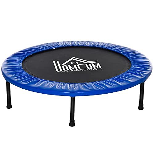 HOMCOM Cama Elástica Fitness Ø100 cm Trampolín de Acero con 36 Resortes con Protector de Borde Incluido para Entrenamiento Interior Carga Máx. 100 kg Negro y Azul