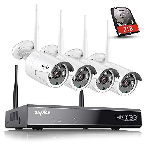 Sannce NVR - Kit de videovigilancia de 4canales, 720 p, grabador de vídeo con cámaras de seguridad por infrarrojos H.264, impermeable, IP66, sistema de CCTV, 2T HDD