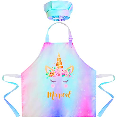 Sylfairy Kids Apron Chef Hat Set, Girls Rainbow Unicorn Apron with Adjustable Neck Strap for Children Kichen Chef Aprons for Cooking Baking Painting and Party (Unicorn B, Small,3-5Years)