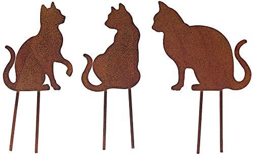 Metall Stecker Katze Rost Stecken Beetstecker Rasenstecker Deko Gras Mieze Kater Gartenstecker Rasen Blumenstecker Gartendekoration Katzenliebhaber Frühling Sommer Herbst Tierfigur braun (1 (3er Set))