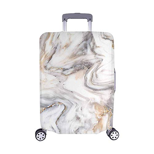 """InterestPrint AbstractWhite Golden Marble Stone Travel Luggage Cover Suitcase Baggage Protector Fits 18""""-21"""" Luggage"""