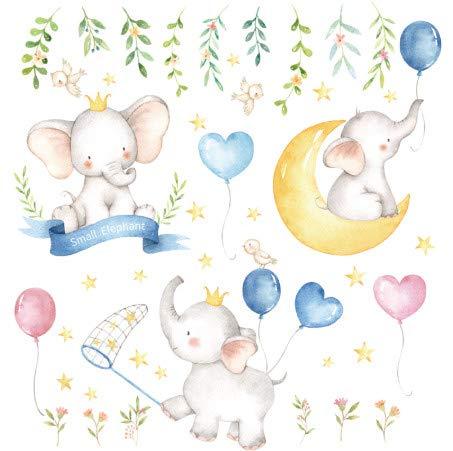 TTBH Artoon Small Elephants Balloon Moon Wall Stickers Paint Style for Living Room Kids Room Wall Decal Baby Nursery Wall Decor Gift