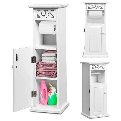 RELAX4LIFE Toilettenpapierschrank schmal, Badezimmerschrank mit ausziehbarer Papierhandtuchrolle, WC Regal 3 Fächer, platzsparender Hochschrank für Badezimmer & Wohnzimmer, 20 x 20 x 66 cm, weiß