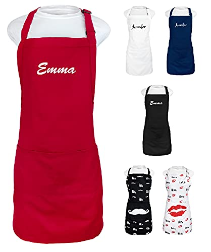 Kaufman - Personalized Apron, Add a Name Embroidered Design, Cotton/Poly Bib Apron Adjustable with Two Front Pockets (RED)
