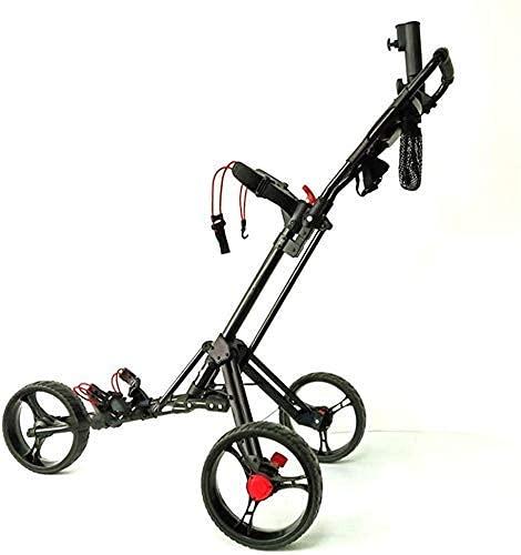 Carrito de golf, carrito de golf de empuje / tracción manual de 3 ruedas con soporte para paraguas, tarjeta de puntuación y soporte para bebidas, carrito de golf de aluminio plegable, equipo de fitnes