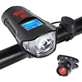 Bike Light Set, Bicycle Headlight Taillight, Bicycle Speedometer Odometer for Bike, with Horn, USB Rechargeable Bike Tail Light and Front Light Set Cycle Head Light Fits All Mountain & Road Bike
