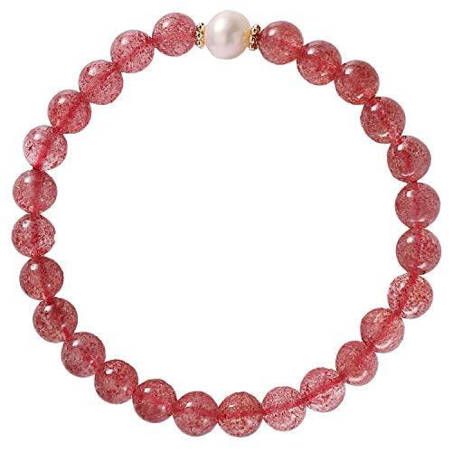 Jewboo Pulsera de cuarzo fresa con perlas cultivadas de agua dulce para mujer, cristales elásticos y piedras curativas para mujer