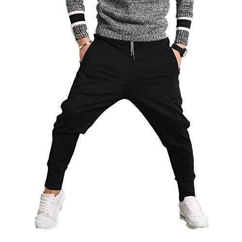 PRIJOUHE Men's Joggers, Sweatpants, Low Crotch Sweats Slim Fit Trousers Harem Hip Hop Pants
